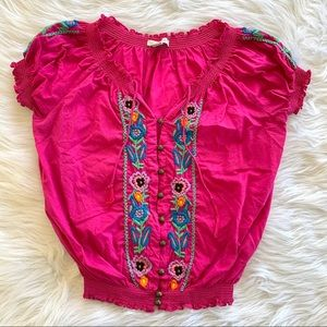 Boston Proper Pink Floral Embroidered Blouse